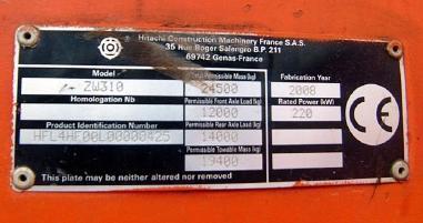 व्हील लोडर - Hitachi ZW310