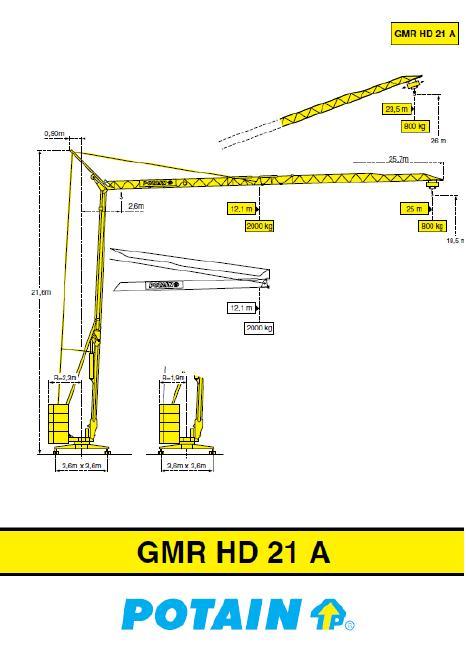 Potain GMR HD21A Kran HD21A, gebraucht > Einsatzbereit