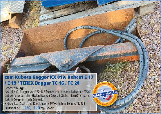 Kubota KX 019/ Bobcat E 17 / E 19 / TEREX Bagger TC 16 / TC 20