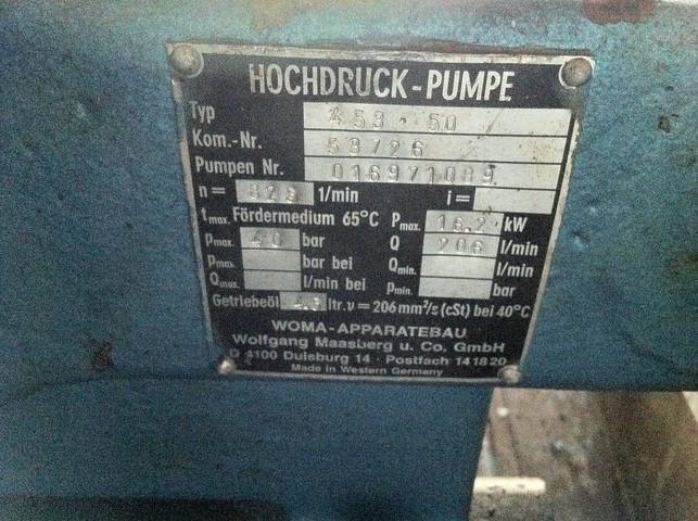 Accesorios - Woma 40 bar - 206 L/min high pressure water pump (each)