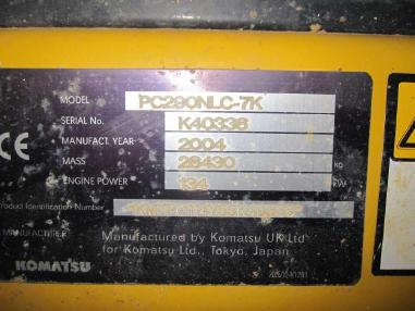 Tracked excavator - Komatsu PC 290-NLC-7K