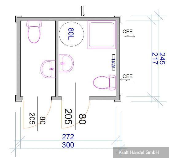 Kraft Kleiner Sanitärcontainer, 2 Kabinen, 2 WC, Dusche,