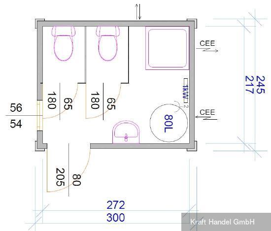 Kraft Kleiner Sanitärcontainer, 2 WC, Dusche,